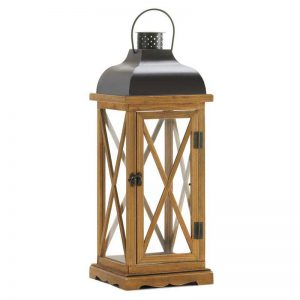 Black Cover Wood Candle Lantern