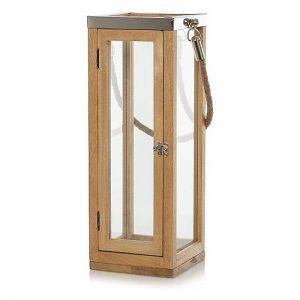 Rope Handle Wooden Lantern