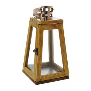 Tapered Wooden Candle Lantern