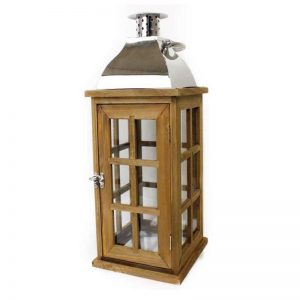 Wooden and Stainless Steel Candle Lantern