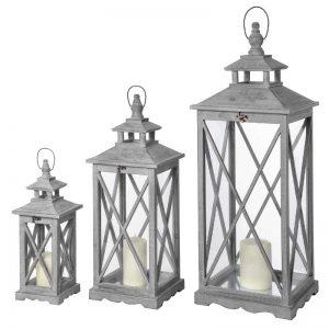 Good Three Wooden Lanterns