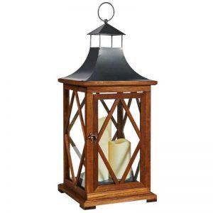 LED Candle Wooden Lantern