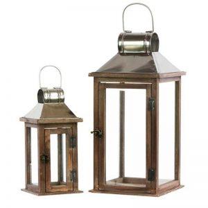 Wooden Square Lantern Set of 2