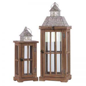 Brown Natural Wood Finish Rectangular Lantern with