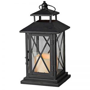 Gerson Metal and Plexiglass Cross-Bar Lantern with 3 by 3-Inch Resin LED Candle