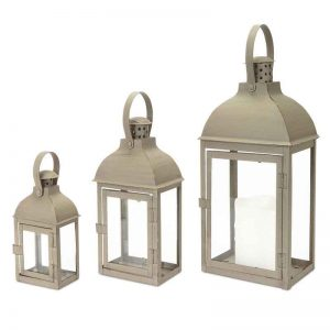 Dome Top Gray Lanterns, Set of 3