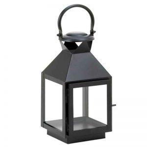 Small Iron Patio Rustic Black Candle Lantern Holder
