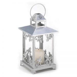 Lily Frosted Vines Iron and Glass Lantern