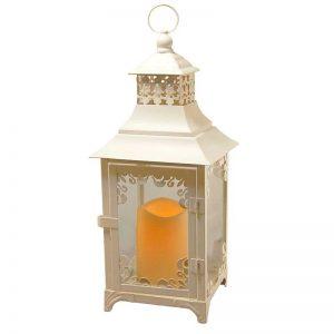 Laurel Creek Otto White Swirl Detail Metal Lantern with LED Candle