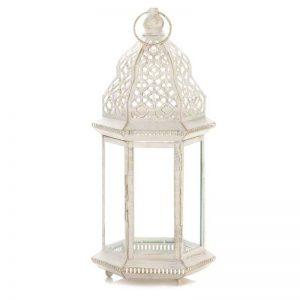Home Locomotion White Iron Glass Large Decorative Sublime Distressed Lantern