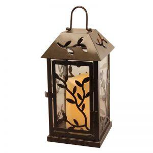 Laurel Creek Otto Black Vine Metal Lantern with LED Candle