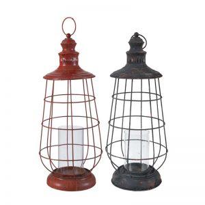 Metal Lantern With Glass Holders, 2-Piece Set