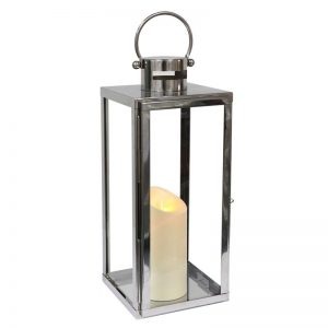 Stainless Steel Battery Operated Lantern with Flameless Candle