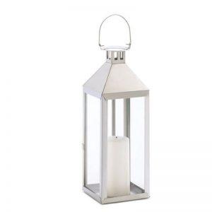 Metal Candle Lanterns White Stainless Steel