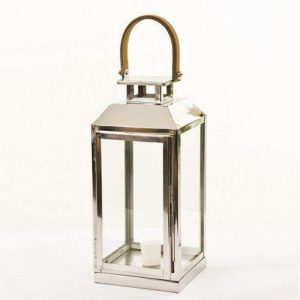 Stainless Steel Lantern with Leather Handle