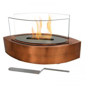 Ventless Tabletop Bio Ethanol Fireplace, Copper