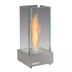 Silver Tabletop Ethanol Fireplace
