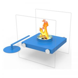 Tabletop Portable Bio Ethanol Fireplace, Blue