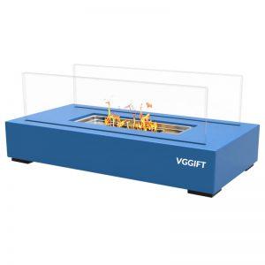 VGGIFT Tabletop Portable Bio Ethanol Fireplace, Blue
