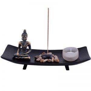 Asian-Japanese-Feng-Shui-Sand-Zen-Garden-Budha-Rocks-Tealight