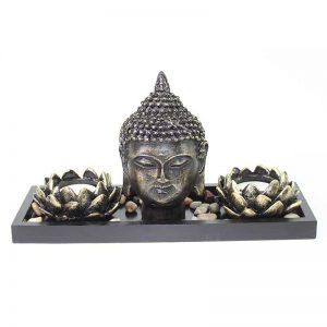 Tabletop Buddha Head Lotus Tea Light Candle Holder Home Decor Relaxing Gift Zen Garden Series
