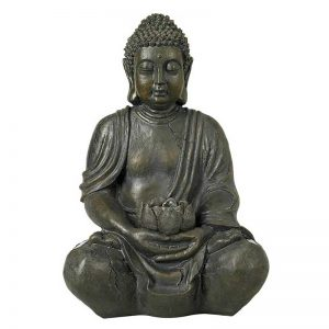 Sitting Buddha 19 1/2″ High Sculpture with Solar Powered LED