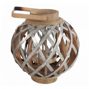 Wood and Metal Round vggift Lantern, Silver and Brown