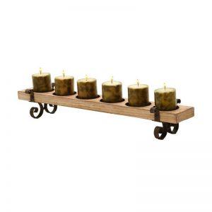 Brown Wood/Metal 6-light Candleholder