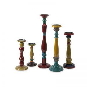Wood Candleholders (Set of 5)