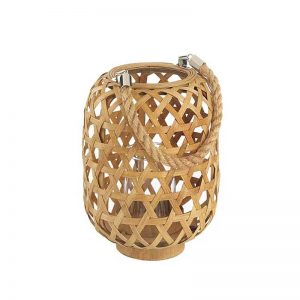 Small Wooden Woven Candle Holder