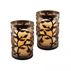 Laurel Creek Elmer Round Warm Black Vine Metal Lanterns (Set of 2)