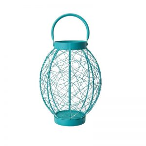 Elements 12in Turquoise Oval Led Lantern