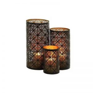Metal Candle Holder Set of 3 (12 inches x 10 inches x 6 inches H)