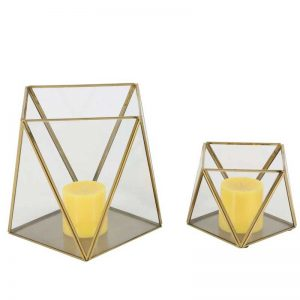Metal Glass Candle Holder Set of 2, 5 inches, 9 inches high