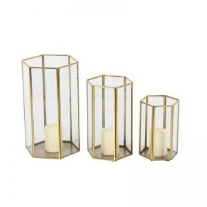 Metal Glass Candle Holder (Set of 3)