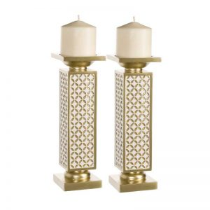 Vggift Gold-tone Polyresin Decorative Candle Holder (Set of 2)