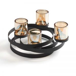 Vggift  Metal Candleholder with Iridescent Glass Cups