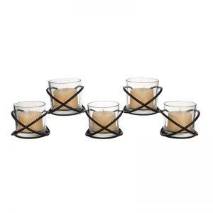 Vggift Five Glass Multiple Candleholder on Orbits Metal Stand