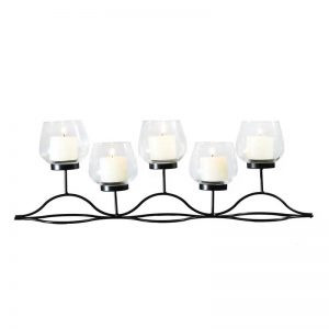 Vggift Metal Wave Stand with Glass Candle Holder