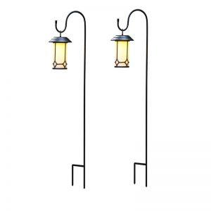 Set of 2 Classical Vggift Solar Lanterns with Shepherd¡¯s Hooks