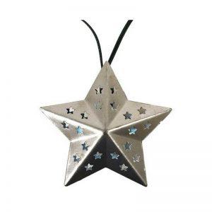 Metal Star Solar String 20 White LED Light, Silver-vggift