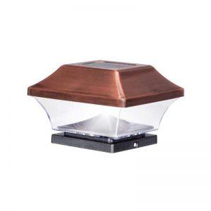 Solar Powered LED Antique Copper Post Cap Light (4-Pack)