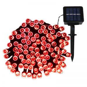 LED Solar Powered String Lights -red