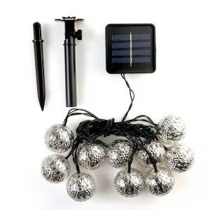10 LED Waterproof Solar Retro Steel Ball Outdoor String Lights
