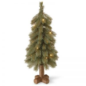 Vggift 24-inch Blue Cedar Tree with Battery-operated LED Lights