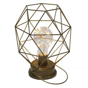 7 X 5-in Hexagon Led Lantern with Bulb Gold